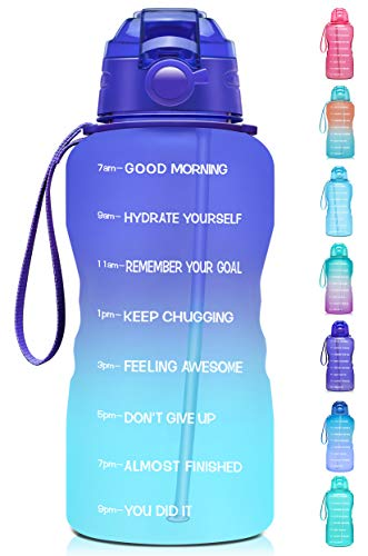 Giotto Large 1 Gallon/128oz Motivational Water Bottle with Time Marker & Straw,Leakproof Tritan BPA Free Water Jug,Ensure You Drink Enough Water Daily for Fitness,Gym and Outdoor Activity-Grape/Green