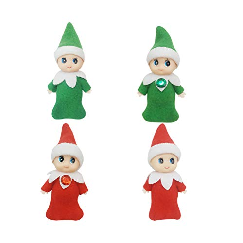 Hinder Christmas Elf Doll,4PCS 2.5-inches Christmas Miniature Doll Accessories 2 Colors for Xmas Decorations for DIY Fairy Garden Dollhouse Decoration Santa