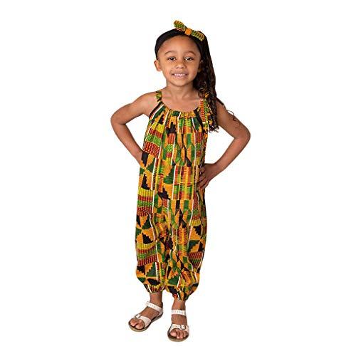 YWLINK Mono Estampado Digital Dashiki Africano NiñA Estilo Nacional Mono Holgado Sin Tirantes con Hombros Al Aire Y Verano Ajustable Ropa Casual NiñA Petos Pantalones De Trabajo(Amarillo,8-10 años)