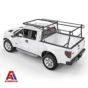 AA-Racks Model X39 Full-size Truck Ladder Rack Side Bar with Long Cab Ext.-Matte Black