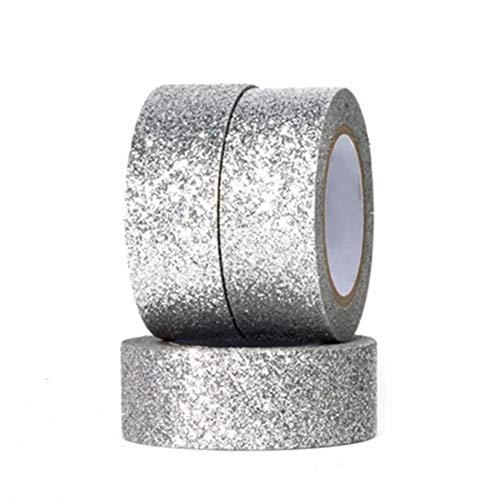 doitsa 1pcs Brillante decorativas Washi Tape, cinta adhesiva papel, Fournitures scolaires papelería estudiantes Masking Tape recortes, plata, 1.5cm*5m
