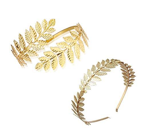 2 Stücke Griechische Römische Lorbeerblatt Armband Armband Goldene Lorbeerblätter Krone Tiara Kostüm Griechische Göttin Stirnband Haarkamm Braut Hochzeit Kopfschmuck Haarschmuck (Golden)