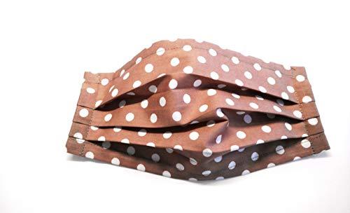 Sommerspezial Behelfsmaske Mund Nasen Bedeckung Alltagsmaske Community Maske Multifunktionstuch, Staubmaske Atem-, Staub-, Luft- 100% Baumwolle mit Nasenbügel für Brillenträger braun Punkte waschbar