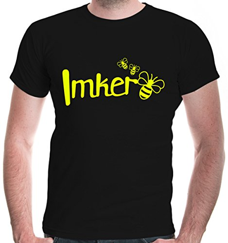 buXsbaum Herren T-Shirt Imker | Biene Honig Bienenzüchter Bienenflüsterer Bienenvolk | XL, Schwarz