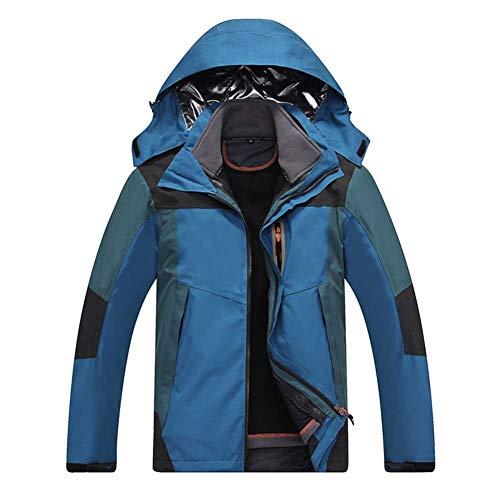 RSTJ-Sjcw Veste imperméable 3 en 1 Storm Homme - Manteau d'hiver Respirant, imperméable, Coupe Montagne Manteaux à Capuchon Randonnée et Casual Daily Manteaux,Darkblue,M