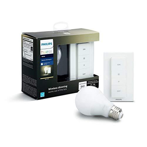 Philips Hue Dimming Kit White avec 1XE27 9,5W [Interrupteur avec Variateur Inclus] - Fonctionne avec Alexa