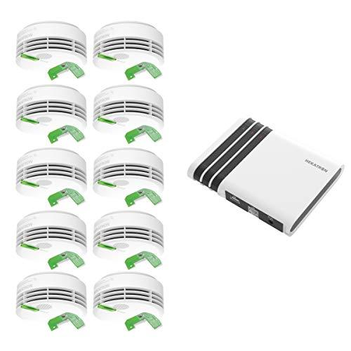 Hekatron Funk-Rauchmelder Genius Plus X inkl. Funkmodul und Genius Port - App unterstützt - Smarthome erweiterbar - 10 Jahres-Batterie - 10-er Set