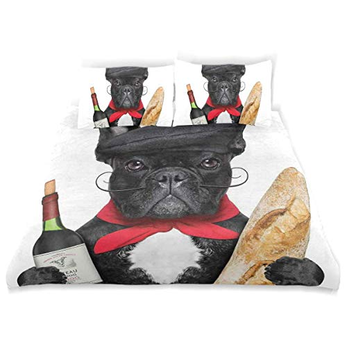 Zozun Bettbezug-Set Französischer Hund in Hut mit Rotwein und Baguette-Brot Gourmet Parisienne Animal Decorative 3-teiliges Bettwäscheset mit 2 Kissenbezügen