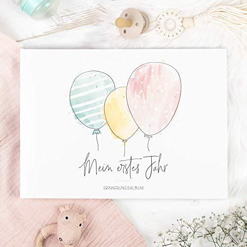 Babyalbum zum Ausfüllen, Mein erstes Jahr Buch, Baby Erinnerungsbuch für Junge oder Mädchen, Babybuch