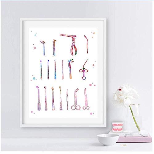 RuiChuangKeJi Canvas muur kunst gereedschap druk tanden kunst tanden kunst instrumenten stomatologie muur kunst canvas schilderij cliniek beurs kantoor decoratie 40x50cm(15.7