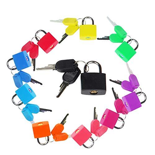 AMIGOB 10 PCS Candado Pequeño de Color con 2 Llaves para Maletas Accesorios