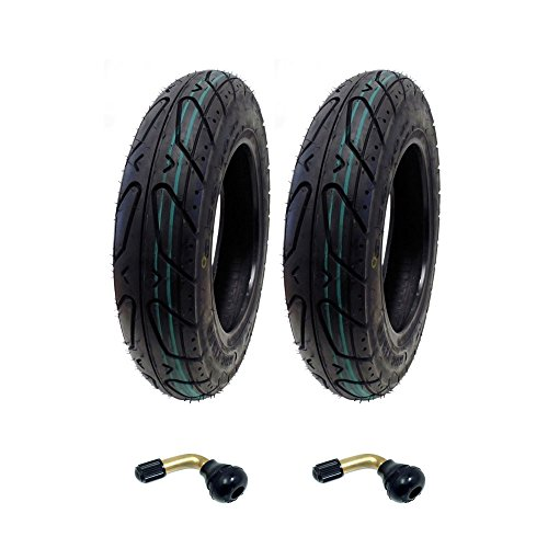 MMG Set of 2 Scooter Tubeless Tire 3.50-10 Compatible with Adly Breeze 50 and Sprint 50 and compatible with other 50cc Scooters, Includes 2 TR87 Bent Valve Stems