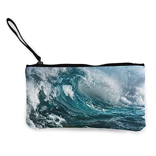 Nature Ocean Wave - Monedero de lona para viaje, maquillaje con mango, bolsa de lona con cremallera, bolsa de aseo portátil