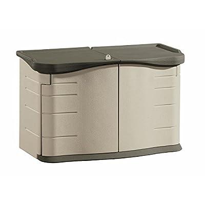Rubbermaid Outdoor Split-Lid Storage Shed, 18 cu. ft., Olive/Sandstone (FG375301OLVSS0)