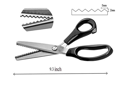 NEJLSD Pinking Shears for Fabric, Stainless Steel Handled Professional Dressmaking Sewing Scissors Zig Zag Fabric Craft Scissors (Sawtooth 5mm)