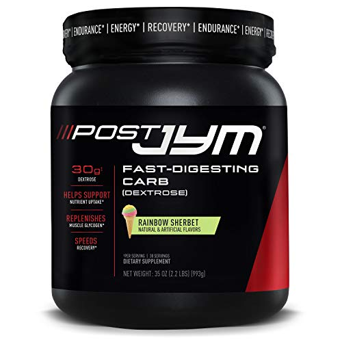 JYM Supplement Science Post FastDigesting Carb PostWorkout Recovery Pure Dextrose Flavor 2.2 Pound, Pink, Rainbow Sherbert, 35 Ounce
