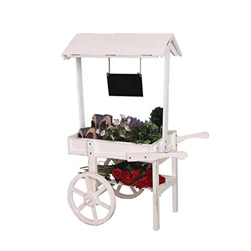 Blumentreppe Gartenrega Werbung Tee Shop Pflanze Stand Indoor Roller warenkorb Blume Stand Wohnzimmer Tisch Rack (Color : Weiß, Size : 56 * 36.5 * 121cm)