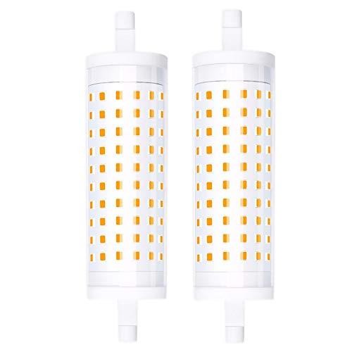 Luxvista R7s J118mm 15W LED Regulable, Lámpara Lineral de maíz, 1500lm iluminación Bombillas de forma de cilindro, Equivalente a la Lámpara Halógena R7s 150W 200W (2-Unidades, Blanco Frío 6000K)