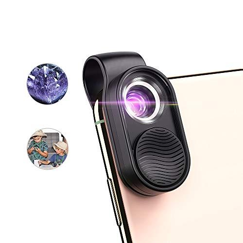 Micro lente per microscopio digitale, luce LED d\'ingrandimento per microscopio 100x con clip universale per telefono