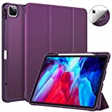 CaseBot SlimShell Case for iPad Pro 12.9' 4th & 3rd Generation 2020/2018 with Pencil Holder - Smart Stand Soft TPU Back Cover, Support Pencil 2nd Gen Charging & Auto Wake/Sleep, Purple
