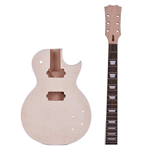 ammoon Guitarra Eléctrica Estilo LP Inacabada Kit de Bricolaje Cuerpo de Caoba &Cuello Rose Wood Diapasón