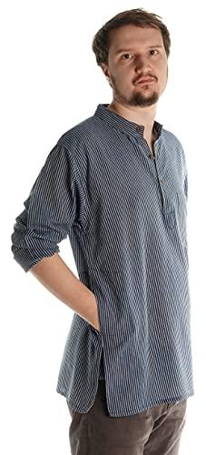 HEMAD Fischerhemd Baumwoll-Hemden Kurta Hemd blau-weiß S
