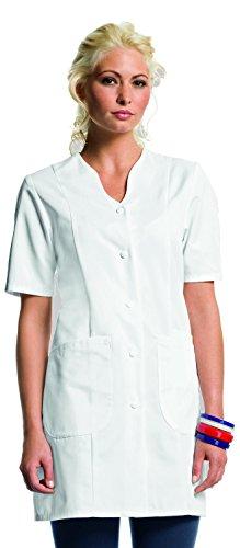 clinicfashion 10214002 Langkasack weiß für Damen, Länge 82 cm, Mischgewebe, Größe 40