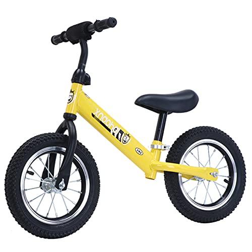 Bicicletas sin pedales, Bicicleta Para Bicicletas De Balance De Niños Pequeños, Sin Pedal De 12 Pulgadas Scooter De Dos Ruedas, Cochecito De Scooter De Caminar Ligero Para Bebé De 2-6 (Color:Amarillo)