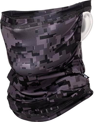 UV Protection Cooling Neck Gaiter Balaclava Multi-Functional Face Shield Scarf with or Without Earloops (Camouflage Black ER)