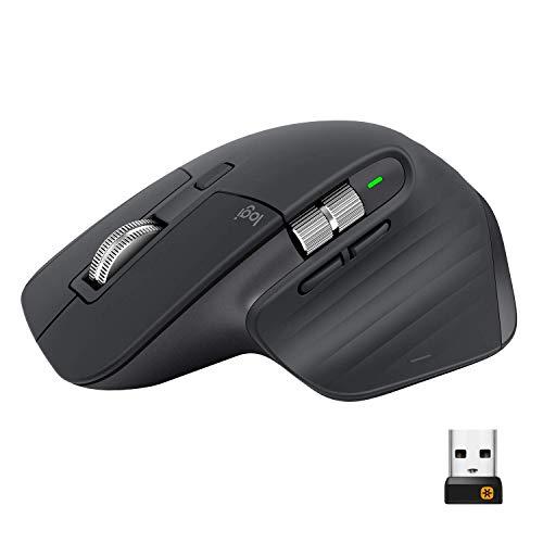 Logitech MX Master 3 Kabellose Maus, Bluetooth und 2.4 GHz Verbindung via USB-Empfänger, 4000 DPI Sensor, Ultra-schnelles Scrollen, PC/Mac/iPadOS - dunkelgrau (Generalüberholt)