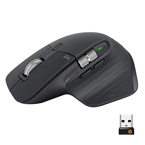 Logitech MX Master 3 Mouse Wireless Avanzato, Ricevitore Bluetooth o USB 2.4 GHz, Scorrimento Rapido, 4000 DPI Qualsiasi Superficie, Ergonomico, 7 Pulsanti, PC/Mac/Laptop/iPadOS, Grigio ‎Scuro