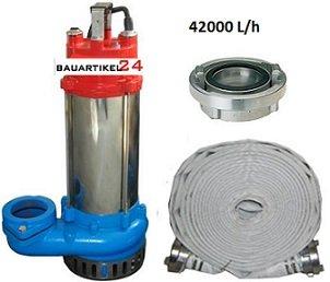 Schmutzwasserpumpe Tauchpumpe Profi Hochleistungspumpe 42000L/h mit B Schlauch 20m