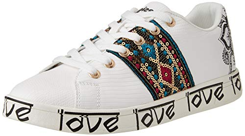 Desigual Shoes_Cosmic_Exotic Indi, Sneakers Mujer, White, 40 EU