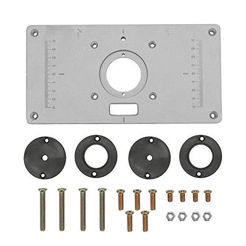 KKmoon Mesa de Enrutador de Aleación de Aluminio Multifuncional para Bancos de Carpintería Inserción de Placa 235 mm x 120 mm x 8 mm Carpintero Máquina de Corte Tablero de Viruta del Tirón