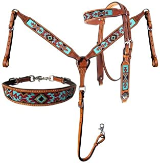 Showman 3 Piece Argentina Cow Leather Headstall & Breast Collar Set w/Aztec Beaded Inlays! New Horse TACK!