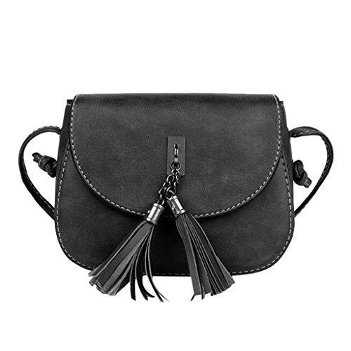 ESAILQ mujeres de cuero mochila bolsas bolsos de hombro para las niñas Negro