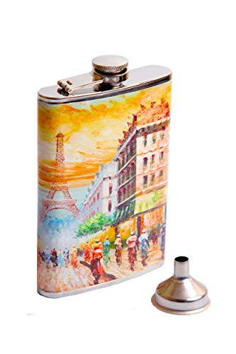Cute Flasks for Women - 12 oz Paris Design Flasks for Liquor for Women - Pretty, Discrete and Cool Stainless Steel Flask Purse with Funnel Pouring Cap for Alcohol