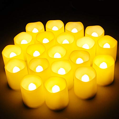 SHYMERY Flameless Votive Tealight Candles,Lasts 2X Longer,Battery Operated LED Tea Lights with Warm White Flickering Light,Small Electric Fake Tea Candle Realistic for Wedding,Table,Outdoor,Pack of 12