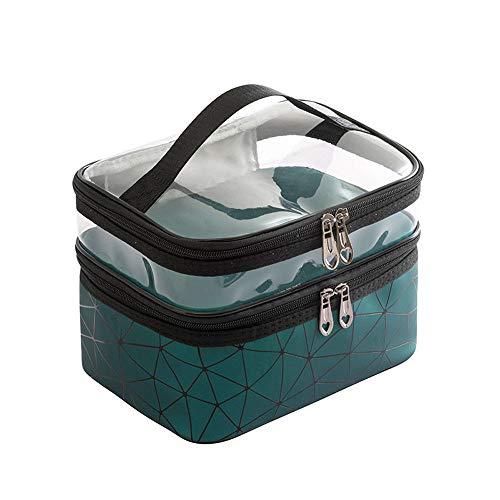 Wangxin® Cosmetic Bag One Pack Double Usage Double Top Et Bottom Femmes Ins Petit Style Portable Simple Sac De Lavage De Grande Capacité Sac Cosmétique Voyage Dark Green