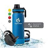 hydro2go ® Trinkflasche aus Edelstahl 500 ml / 0.5 Liter - für Kinder, Schule, Sport, Fitness & Outdoor   Thermo Edelstahlflasche BPA-frei + 3 Trinkverschlüsse   100% Auslaufsichere Thermoskanne