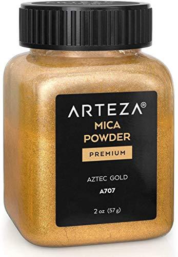 Arteza Mica Pulver Aztec Gold A707, Epoxidharz Farbe Pulver, 57g Flasche, Glimmerpulver in kosmetischer Qualität zur Herstellung von Seife, Nagellack, Badebomben, Kerzen und Schleim