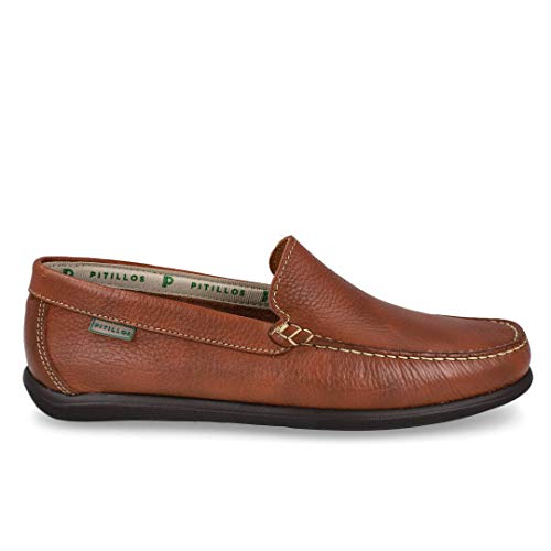 Zapato Piel y platilla Piel con Pespuntes en la Pala (Marron, Numeric_42)