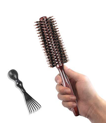 Rundbürsten Haarbürste Wildschweinborsten mit Nylonstiften Bartbürste Fönbürste Naturhaarbürste für Frauen und Männer, Glätten, Locken, Nasses Trockenes Haar (Twill Zähne)