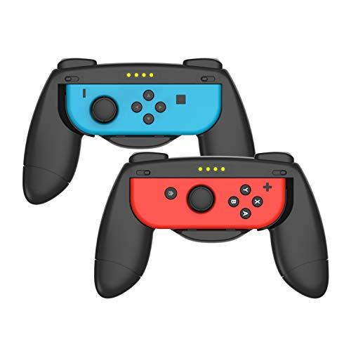 Azakio Grips kit for Nintendo Switch Joy Con Controller, Ergonomic Nintendo Switch Hand Grip,Accessories for Nintendo Switch, 2Pack (Black/Black)