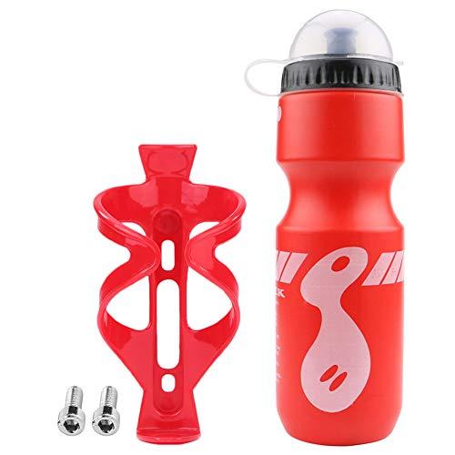 Springlinges Bike Water Bottle+Holder Rack Cage+Screws MTB Outdoor Sports Parts (Red)