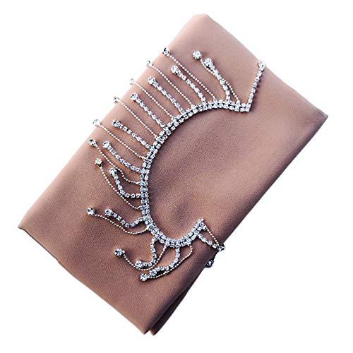 Yoging - Bufanda de gasa de seda para damas de lujo, con brillantes y flecos, color liso