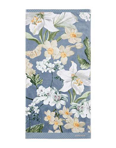 ESSENZA Toalla Rosalee Flores de algodón orgánico (GOTS), azul, 70 x 140 cm