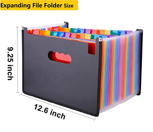 24 Pockets Expanding File Folder/ A4 Accordion File Organizer/Multicolor Portable Expanding File Folder,High Capacity Plastic Business Portable Accordion File Bag,with Colored Tab Office (01) Photo #2