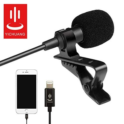 Professionelles Mikrofon, Lavalier-Mikrofon, omnidirektionales Ansteckmikrofon mit einfachem Clip-On-System für iPhone X XR XS max 8 8 Plus 7 7 Plus 6 6s 6 Plus 5/iPad