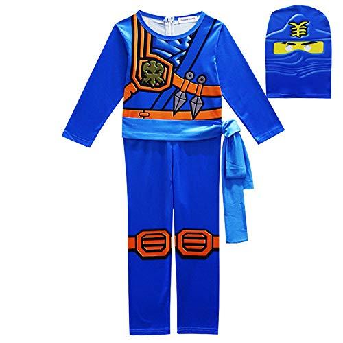FINDPITAYA Ninjago Masters of Spinjitzu Halloween Weihnachten Ninja Cosplay Kostüm mit Maske und Gürtel für Kinder Blau (130)